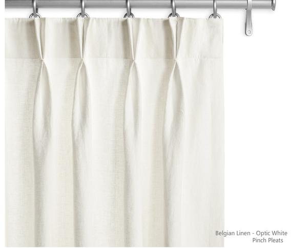 """20% Off, Pair Of Optic White Belgian Linen Curtains, Canvas Weight Linen,  50"""" Wide110"""" Long, Unlined (View 2 of 46)"""