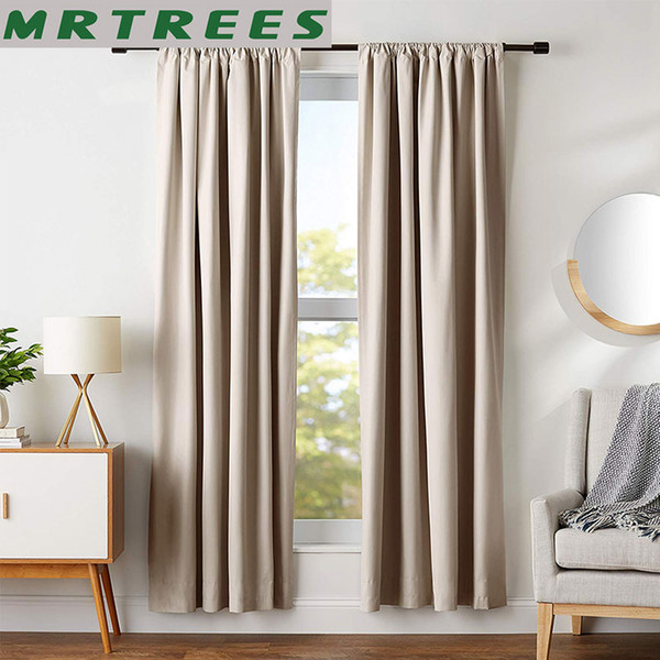 2019 Mrtrees Modern Blackout Curtains For Living Room Bedroom Window Treatment Blinds Solid Finished Window Blackout Curtains Panel From Sophine09, With Regard To Solid Cotton True Blackout Curtain Panels (View 29 of 50)