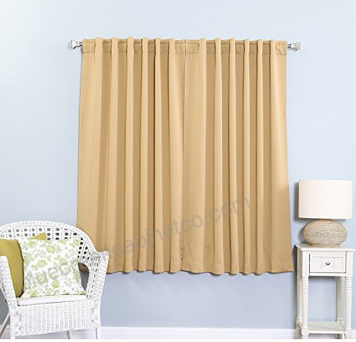 2Pc 63 Girls Tan Solid Color Blackout Curtain Panel Pair Within Thermal Rod Pocket Blackout Curtain Panel Pairs (#1 of 50)