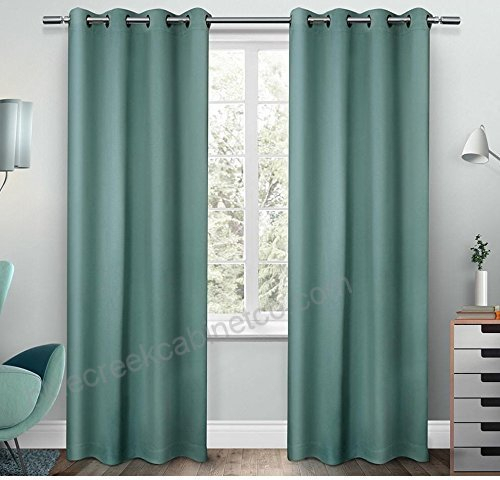 2Pc 63 Girls Teal Solid Color Blackout Curtains Panel Pair For Silvertone Grommet Thermal Insulated Blackout Curtain Panel Pairs (#2 of 35)