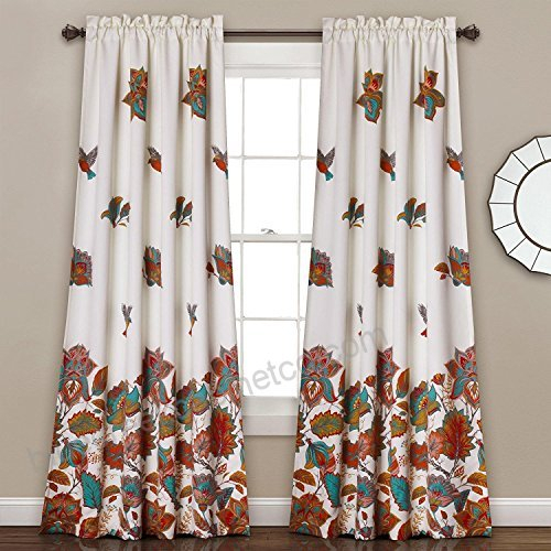 2Pc 84 Girls Blue Color Bird Flower Curtain Panel Pair, Kids Within Floral Pattern Room Darkening Window Curtain Panel Pairs (View 1 of 44)