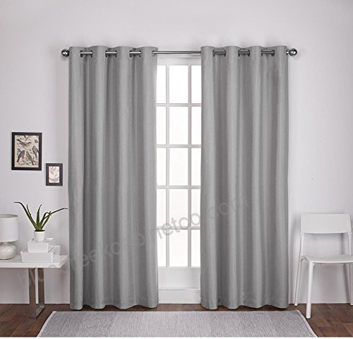 2Pc 84 Girls Dove Grey Solid Color Thermal Textured Curtains With Thermal Textured Linen Grommet Top Curtain Panel Pairs (View 4 of 42)