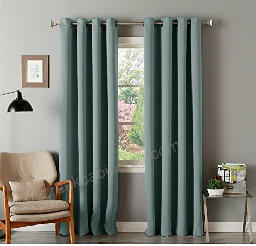 2Pc 84 Girls Mineral Green Solid Color Blackout Curtain Throughout Grommet Top Thermal Insulated Blackout Curtain Panel Pairs (View 4 of 50)