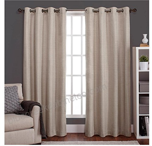 2Pc 84 Girls Taupe Color Thermal Insulated Curtains Panel With Raw Silk Thermal Insulated Grommet Top Curtain Panel Pairs (#3 of 46)