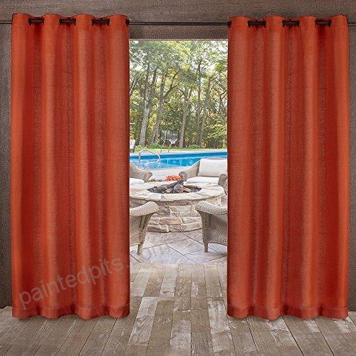2Pc 96 Mecca Orange Indoor Outdoor Heavy Textured Gazebo In Indoor/outdoor Solid Cabana Grommet Top Curtain Panel Pairs (#1 of 48)