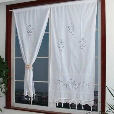 2Pc Kitchen Curtain Hand Crochet Cotton Window Curtain Panel Regarding Solid Country Cotton Linen Weave Curtain Panels (#1 of 50)