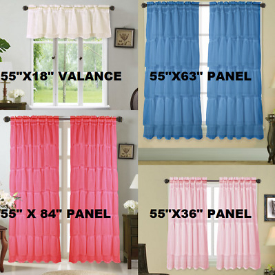 2Pc Solid Rod Pocket Top Voile Sheer Window Curtain Panel Regarding Sheer Voile Ruffled Tier Window Curtain Panels (View 15 of 50)