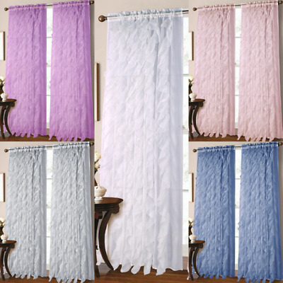 2Pc Vertical Ruffles Voile Sheer Window Waterfall Curtain In Sheer Voile Waterfall Ruffled Tier Single Curtain Panels (#2 of 50)