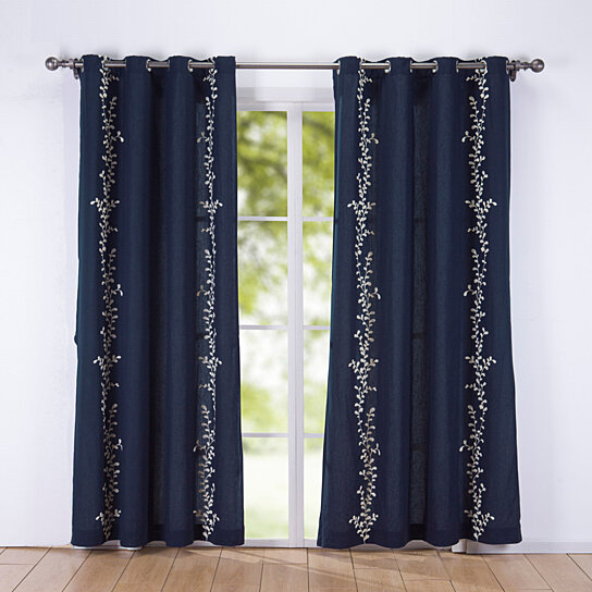 2Pcs Decorative Embroidered Nature/floral Semi Sheer Grommet Curtain Panels Within Grommet Curtain Panels (#1 of 39)
