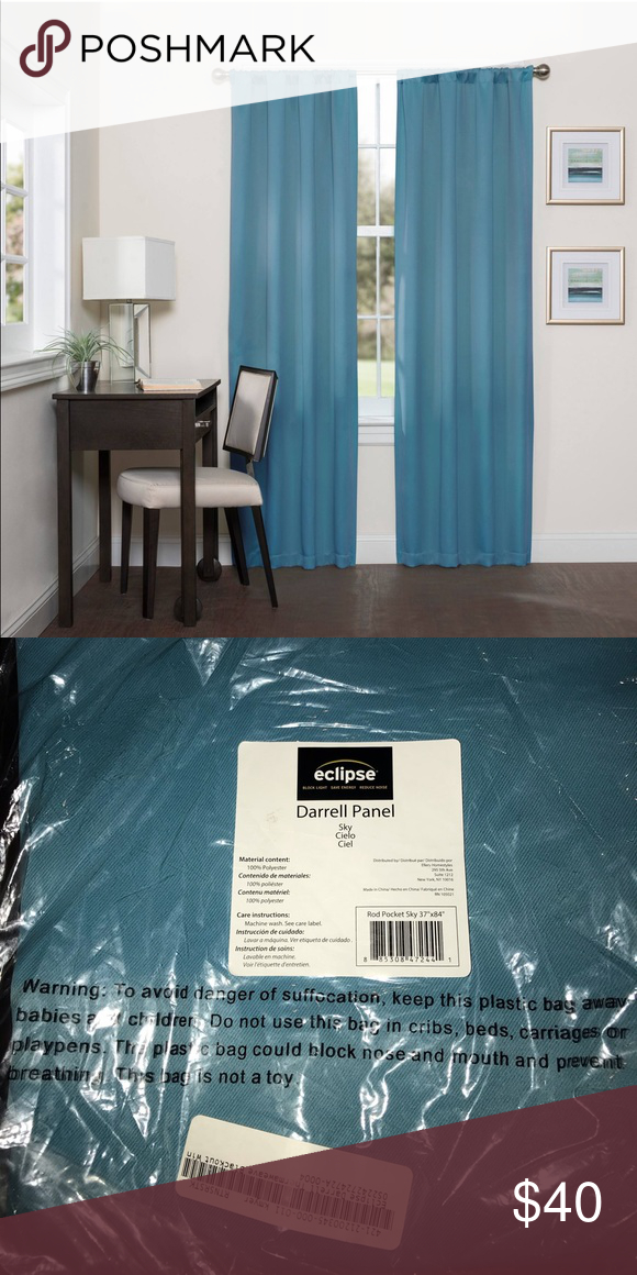 4 Brand New Eclipse Blackout Curtains Sky Blue Brand New Pertaining To Eclipse Solid Thermapanel Room Darkening Single Panel (#1 of 31)