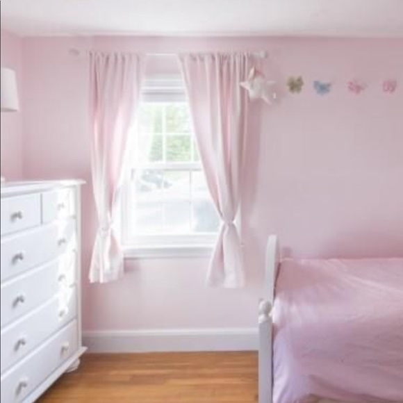 4 Pottery Barn Kids Blackout Panels White W Pink With Regard To Hayden Rod Pocket Blackout Panels (View 8 of 43)