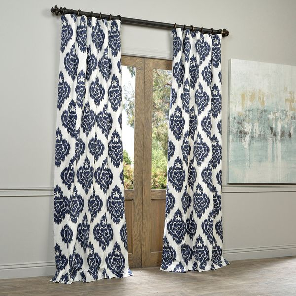 "$40 For 96"" @ Overstock, Exclusive Fabrics Ikat Blue Printed With Regard To Ikat Blue Printed Cotton Curtain Panels (#1 of 50)"