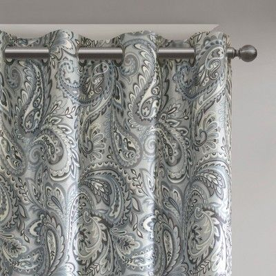 "Inspiration about 50""x63"" Elsie Paisley Printed Blackout Window Panel Gray Regarding Pastel Damask Printed Room Darkening Grommet Window Curtain Panel Pairs (#2 of 50)"