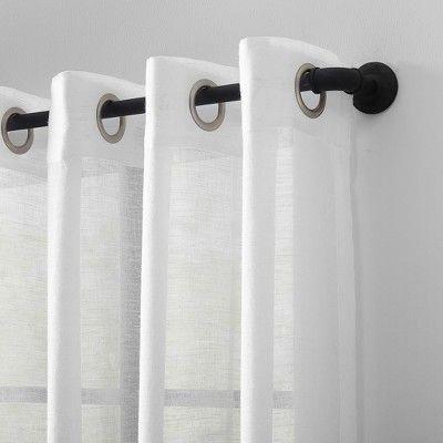 "Inspiration about 52""x84"" Slub Textured Linen Blend Grommet Top Curtain White Regarding Archaeo Slub Textured Linen Blend Grommet Top Curtains (#1 of 37)"