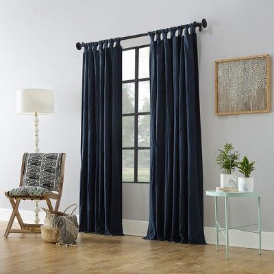 "52""x95"" Washed Cotton Twist Tab Curtain Navy (Blue Throughout Archaeo Washed Cotton Twist Tab Single Curtain Panels (View 7 of 21)"