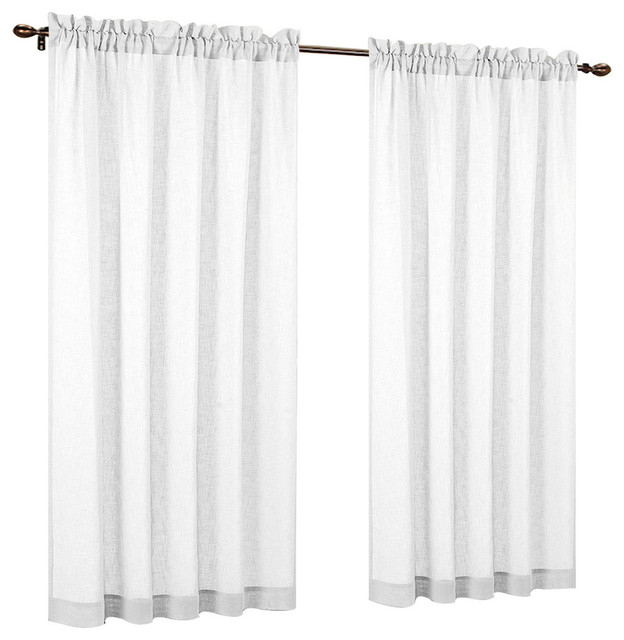 """54""""63"""" Fauxlinen Sheer Set Of 2 Curtain Panels, Off White With Regard To Montpellier Striped Linen Sheer Curtains (#1 of 50)"""