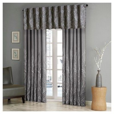 "5""x18"" Faux Silk Embroidered Blackout Window Valance Gray Throughout Ofloral Embroidered Faux Silk Window Curtain Panels (View 8 of 50)"