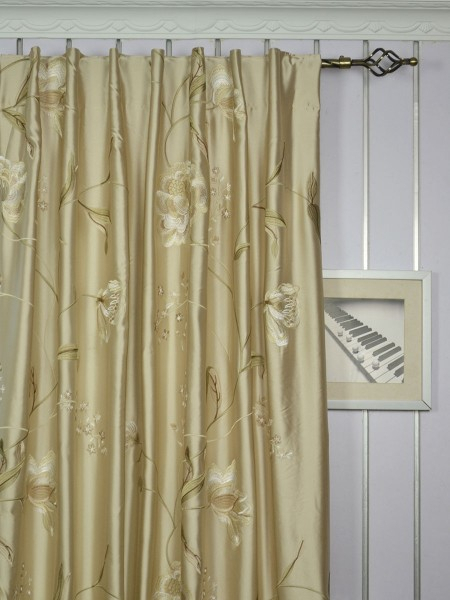 63 Inch 96 Inch Deep Champagne Embroidered Floral Grommet Inside Ofloral Embroidered Faux Silk Window Curtain Panels (View 38 of 50)