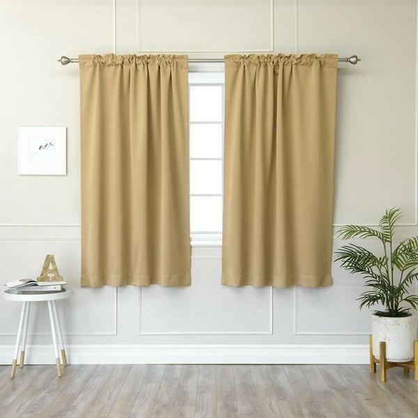 63 Inch Curtains Aurora Home Solid Insulated Thermal Inch Intended For Thermal Rod Pocket Blackout Curtain Panel Pairs (#3 of 50)
