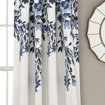 "84"" X 52"" Tanisha Room Darkening Window Curtain Panels Navy With Gray Barn Dogwood Floral Curtain Panel Pairs (View 7 of 48)"