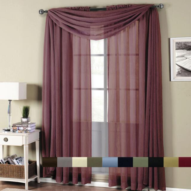 Abri Rod Pocket Crushed Sheer Window Curtain Panels Or Scarf, Beautiful  Decor Throughout Infinity Sheer Rod Pocket Curtain Panels (#2 of 50)
