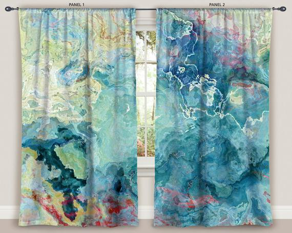 Abstract Art Window Curtain In Blue, Green, Aqua And Cream, 50″x84″ Panels,  Blackout Drapes, Contemporary Rod Pocket Drapes, Cool Cucumber In Abstract Blackout Curtain Panel Pairs (View 4 of 46)