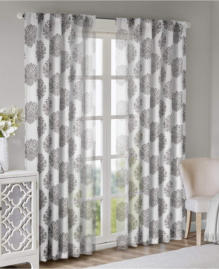 "Addison Medallion 52"" X 84"" Burnout Semi Sheer Back Tab Window Panel In Elowen White Twist Tab Voile Sheer Curtain Panel Pairs (View 5 of 36)"