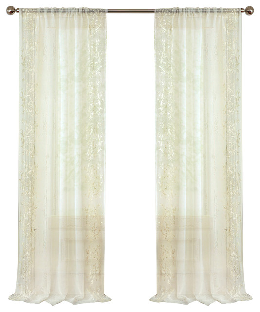 "Addison Sheer Window Panel, Ivory, 52""x84"" In Elrene Jolie Tie Top Curtain Panels (#3 of 35)"