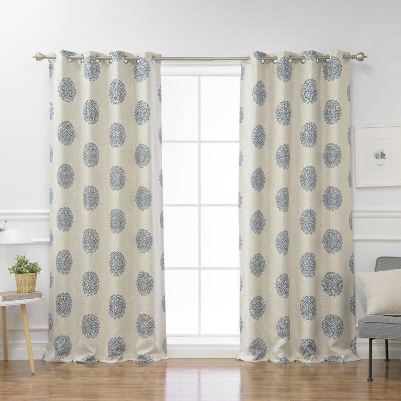 Adeline Blend Damask Blackout Thermal Grommet Curtain Panels Inside Grommet Curtain Panels (View 2 of 39)