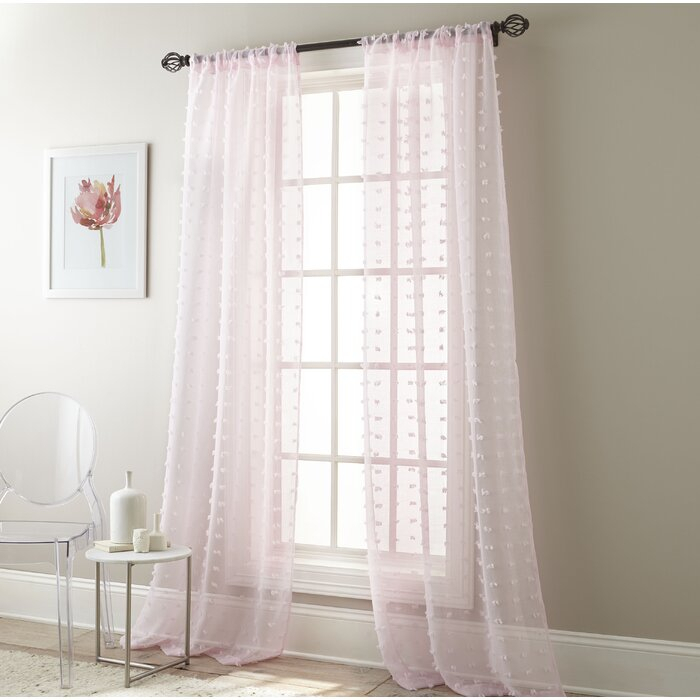 Aesara Solid Color Sheer Rod Pocket Curtain Panels Intended For Emily Sheer Voile Solid Single Patio Door Curtain Panels (View 1 of 50)