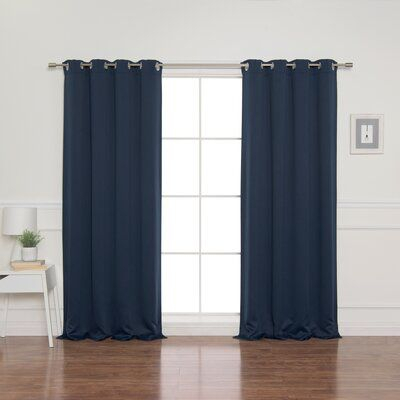 Alcott Hill Schaeffer Solid Blackout Thermal Grommet Curtain In Superior Solid Insulated Thermal Blackout Grommet Curtain Panel Pairs (#11 of 45)