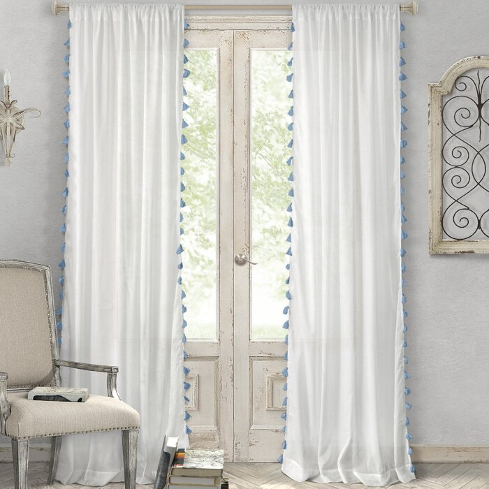Alexis Solid Semi Sheer Rod Pocket Single Curtain Panel Pertaining To Solid Cotton Curtain Panels (#6 of 47)