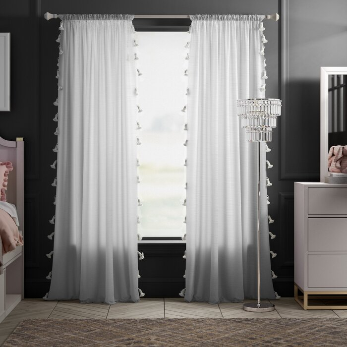 Alexis Solid Semi Sheer Rod Pocket Single Curtain Panel Within Tassels Applique Sheer Rod Pocket Top Curtain Panel Pairs (View 2 of 45)