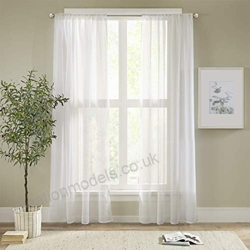 Alice White Curtains Bedroom Curtain – 2 Panels Classical In Extra Wide White Voile Sheer Curtain Panels (View 3 of 50)