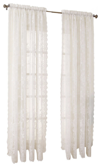 Alison Lace Curtain Panel, White, 58X84 Pertaining To Alison Rod Pocket Lace Window Curtain Panels (View 7 of 44)