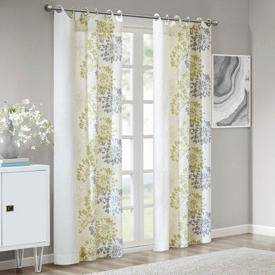 "Ally Floral Printed Curtain Panel Green/gray 50""x84"" Within Elowen White Twist Tab Voile Sheer Curtain Panel Pairs (View 6 of 36)"