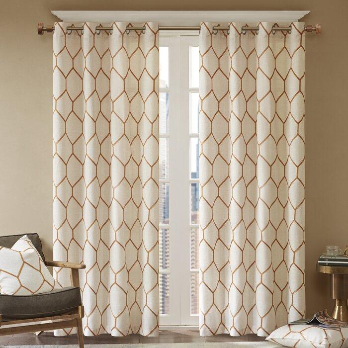 Almaguer Geometric Semi Sheer Grommet Single Curtain Panel Inside Fretwork Print Pattern Single Curtain Panels (View 24 of 46)