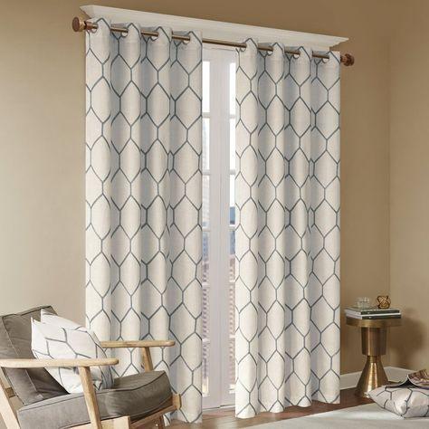 Almaguer Geometric Semi Sheer Grommet Single Curtain Panel Regarding Laya Fretwork Burnout Sheer Curtain Panels (View 13 of 38)