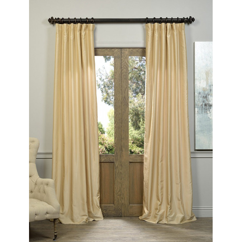Almond Vintage Textured Faux Dupioni Silk Curtain – Curtain Drapery In Vintage Textured Faux Dupioni Silk Curtain Panels (#1 of 50)