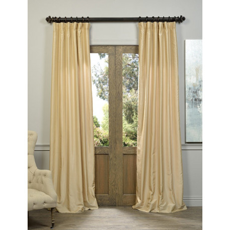 Almond Vintage Textured Faux Dupioni Silk Curtain – Curtain Drapery With Regard To Vintage Faux Textured Dupioni Silk Curtain Panels (#1 of 50)