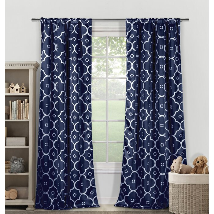 Alston Geometric Blackout Rod Pocket Curtain Panels Inside Twig Insulated Blackout Curtain Panel Pairs With Grommet Top (#7 of 50)