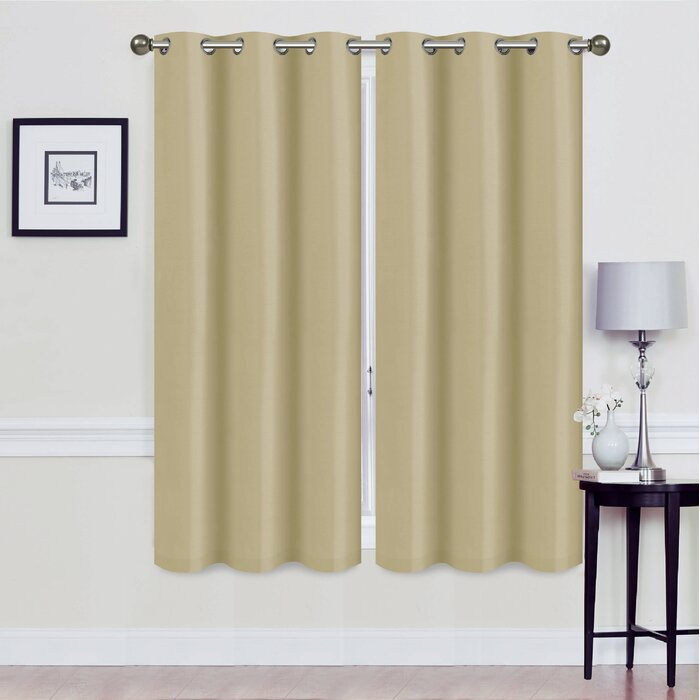 Alvina Solid Blackout Thermal Grommet Curtain Panels Regarding Superior Solid Insulated Thermal Blackout Grommet Curtain Panel Pairs (#13 of 45)