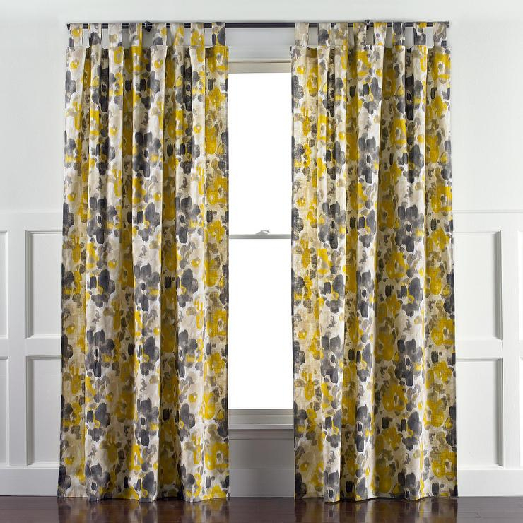 Amazing Yellow And Gray Drape Buy Curtain Online At In Leah Room Darkening Curtain Panel Pairs (#1 of 50)