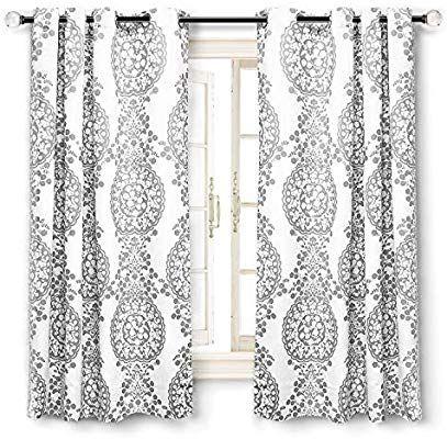 Popular Photo of Pastel Damask Printed Room Darkening Grommet Window Curtain Panel Pairs