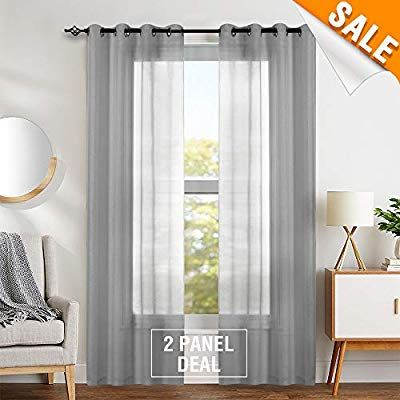 Amazon: Gray Sheer Curtains For Living Room Ring Top Intended For Archaeo Jigsaw Embroidery Linen Blend Curtain Panels (#2 of 25)