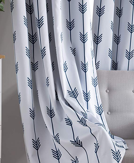 Amazon: Hlc Arrow Printed Privacy Blackout Energy In Kaiden Geometric Room Darkening Window Curtains (View 4 of 39)