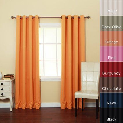 Amazon – Solid Grommet Top Thermal Insulated Blackout Regarding Solid Insulated Thermal Blackout Long Length Curtain Panel Pairs (View 41 of 50)