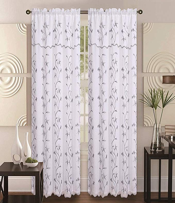 Amazonsmile: Double Layer Embroidery Floral Vine Sheer Front Regarding Double Layer Sheer White Single Curtain Panels (View 10 of 50)