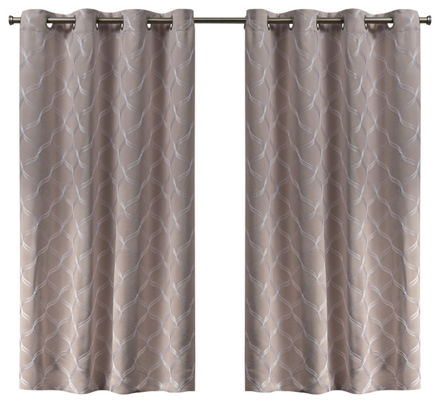 Amelia Embroidered Woven Blackout Grommet Top Curtain Panel Pair, Blush,  52X63 Within Oxford Sateen Woven Blackout Grommet Top Curtain Panel Pairs (View 1 of 44)