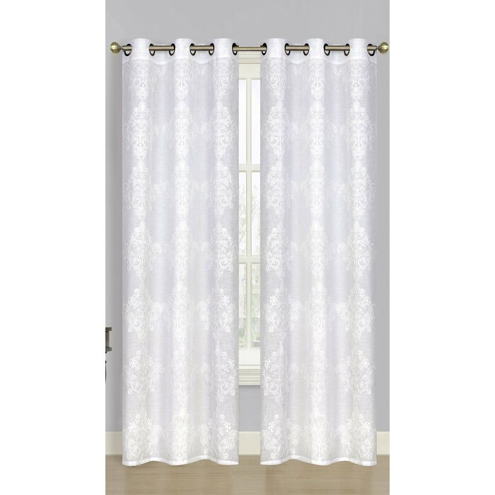 Amelie Damask Semi Sheer Grommet Curtain Panels Throughout Curtain Panel Pairs (View 4 of 26)